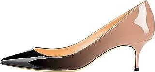 Sammitop Women's Kitten Heel Pumps,Pointed Toe Slip On Shoes,Ladies Office Daily Dress Pumps 6.5CM