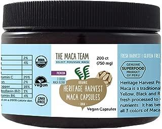 The Maca Team Premium Pure Raw Organic Maca Root Capsules – Certified Organic, GMO-Free and Gluten-Free, 750 mg, 200 Ct.