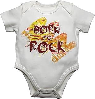 2Personal Baby Strampler mit AufdruckBorn to Rock, Unisex, Weiß, 6-9 Monate