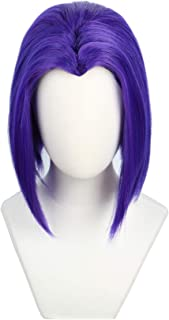 Codeven Short Purple Hair Wigs Halloween Costume Cosplay Wig for Women