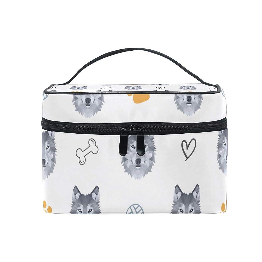 まっすぐ真実にレパートリーメイクボックス 低い多角形のオオカミ柄 化粧ポーチ 化粧品 化粧道具 小物入れ メイクブラシバッグ 大容量 旅行用 収納ケース