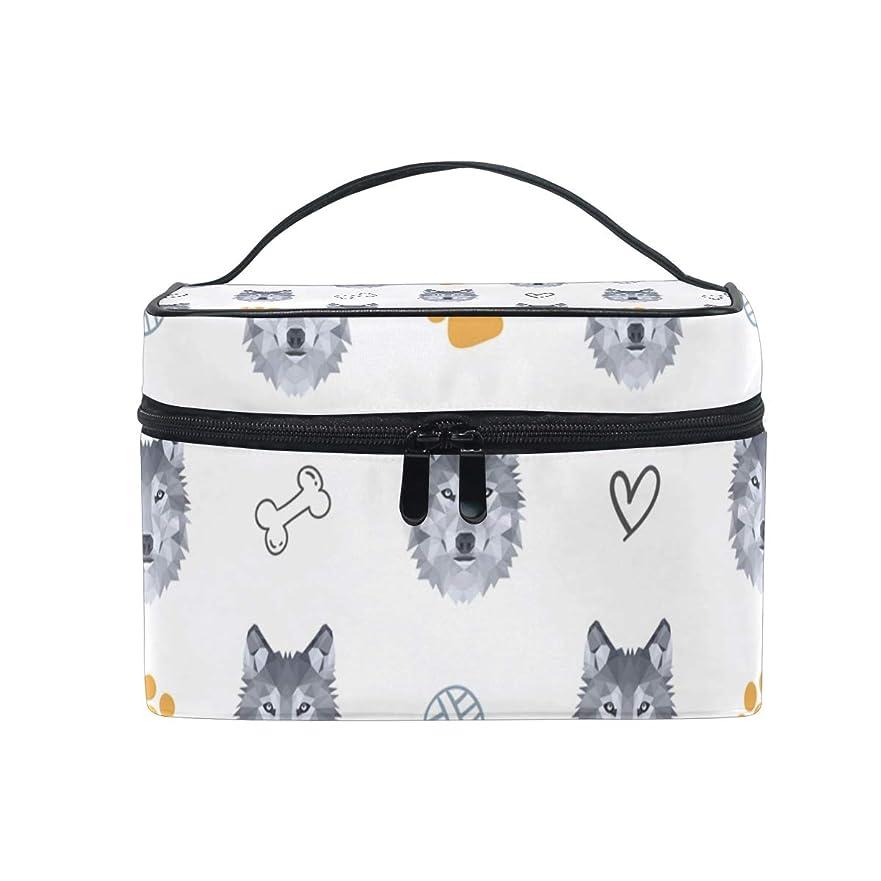 挨拶する俳句餌メイクボックス 低い多角形のオオカミ柄 化粧ポーチ 化粧品 化粧道具 小物入れ メイクブラシバッグ 大容量 旅行用 収納ケース