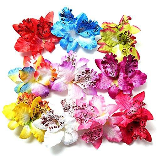 HugeStore 10 Stück Damen Mädchen Orchideen Blumen Leopard Haarklammer Haarspange Haarschmuck Haarnadeln