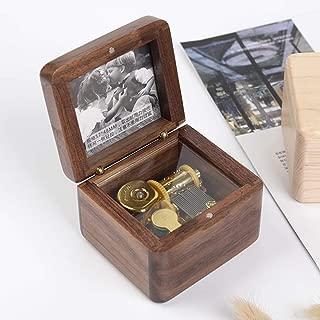 木製オルゴール写真ギフトボックス創造的なノベルティギフト誕生日プレゼントバレンタインデーギフト純粋な音楽、立体感 よくできた (色 : Walnut)