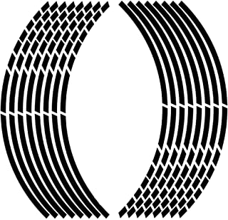 """OUYAWEI 17""""18"""" 16pcs Motorcycle Car Wheel Tire Stickers Reflective Rim Tape Motorbike Auto Decals Reflective black Auto Accessories"""