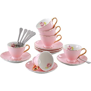 Jusalpha Porcelain Tea Cup and Saucer Coffee Cup Set with Saucer and Spoon Set of 6 (FD-TCS02 pink (6), 7oz)