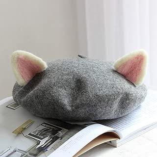 ZYKIMYONG Sweet Princess Lolita Hat Mori Girl Kawaii Cat Ear Hat Winter Warm Beret Manual Beret Cap