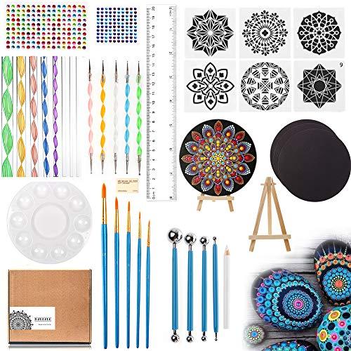 RAIN QUEEN Rock Malerei Werkzeuge, Mandala Rock Punktierung Werkzeuge, Dotting Tools dot Painting für DIY Steinmalerei, Handwerk, Nail Art Zubehör (39 Stück)