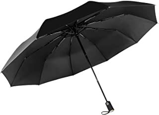 Aipker Travel Umbrellas, Compact Folding Rain Umbrella with 10 Ribs and Auto Open Close, Waterproof Windproof Umbrella for Men Black