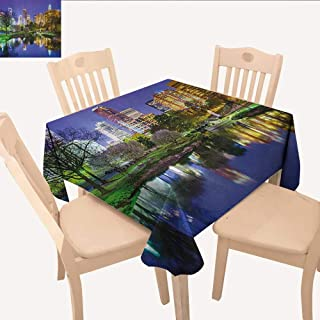 longbuyer City Christmas Tablecloth North Carolina Marshall Park United States American Night Reflections on Lake Photo Small Square Tablecloth Multicolor W 36
