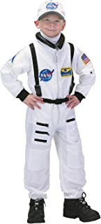 Aeromax Jr. Astronaut Suit with Embroidered Cap and NASA patches, WHITE, Size 6/8