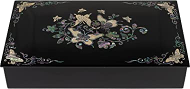 February Mountain Mother of Pearl Butterfly Decorative Box with lid - Wooden Storage Box Desk Jewelry Organizer Keepsake Trin
