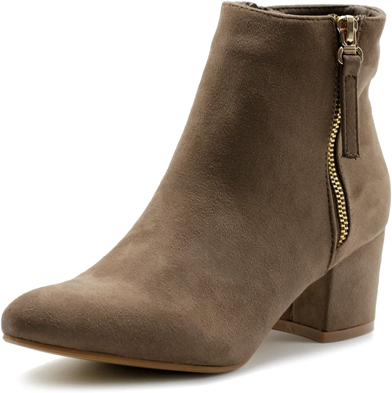 Ollio Women's shoes Faux Suede Chunky Heel Zip Up Ankle Boots TWB01016