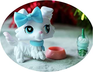 lpsloverqa Custom Made OOAK LPS Collie Paw Up Pure White Blue Heart Eyes with Accessories Lot Cartoon Dog Figures Collection Boys Girls Kids Gift Set