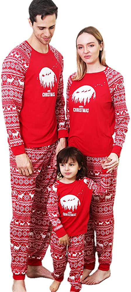 Family Matching Pajamas Christmas Jammies Clothes Holiday Nightwear Household Sleepwear Sets Long Sleeve Pjs,Red