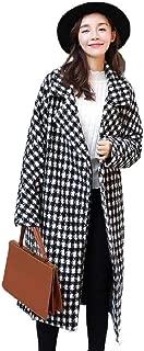 neveraway Womens Classic Winter Wool Outwear Coat Warm Long Houndstooth Overcoat