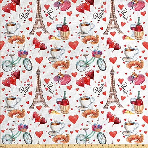 Ambesonne Romantic Fabric by The Yard, Valentines Day Love Themed Paris Coffee Wine Parfumes Bikes with Heart Backdrop, Decorative Fabric for Upholstery and Home Accents, 1 Yard, Red Coral