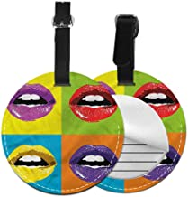 Favorite brand luggage tags Kiss,Female Smooch with Open Mouth Label Tag Address Holder