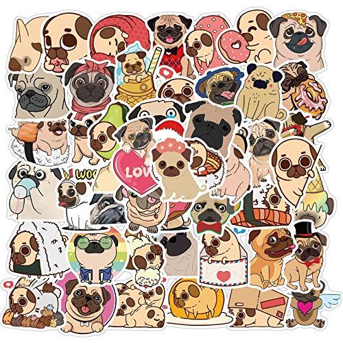 YOUKU Cute Animal Pug Stickers Valigia Skateboard Trolley Valigia Laptop Impermeabile Cartoon Stickers 50 Fogli Sheet