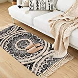 Seavish Tufted Cotton Rug,2X 4.4 Black Mandala Boho Rug, Hand Woven Bohemian Runner Throw Rugs, Shag Accent Fringe Tassel Rug for Bedroom Bedside Kitchen, Laundry Room Rug