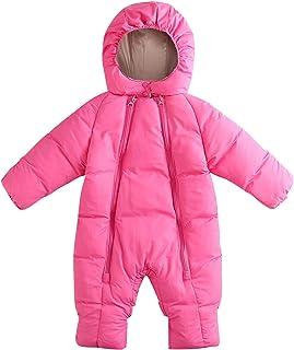 AceAcr Unisex Baby Snowsuit Hooded Puffer Jacket Solid Warm Coat Lightweight Cotton Sleepwear