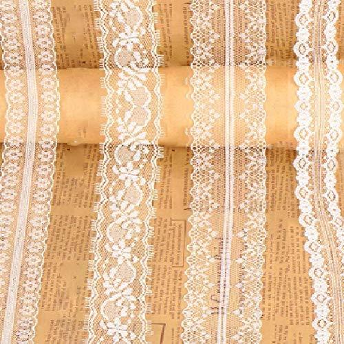 Lady of Luck 4PCS Vintage Spitzenband Borte Weiss aus Baumwolle Dekoband Zierband Spitzenstoff Spitzenborte für DIY Handwerk Hochzeit Party Weihnachten Deko