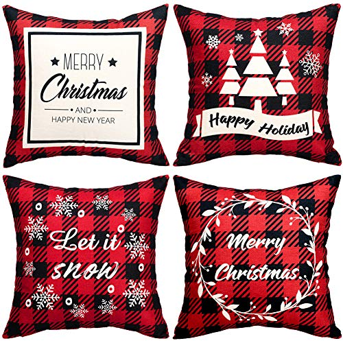 Why Should You Buy Christmas Pillow Covers 4 Decorative Pillow Covers 18x18 Linen Red Plaid Throw Pi...