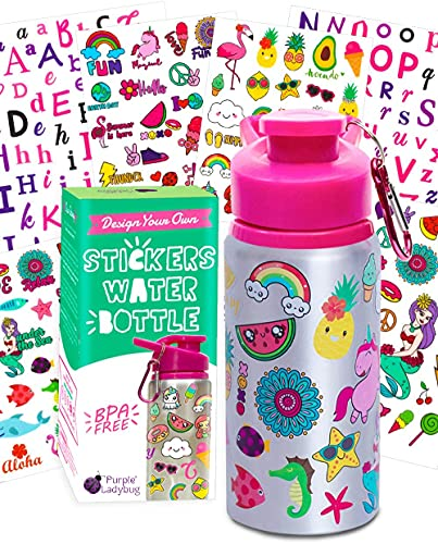 Purple Ladybug Decorate Your Own Water Bottle for Girls Craft Kit with Tons of Fun On-Trend Stickers - BPA Free, Kids Water Bottle - Great Girl Gift Idea, Fun Creative DIY Kids Arts & Crafts Activity