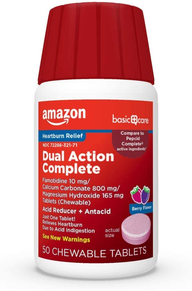 Basic Care Dual Action Complete, Chewable Acid Reducer & Antacid Tablets, Flavor; Helps to relieve heartburn due to acid indigestion, Pink, Berry, 50 Count (Pack of 1): Health & Personal Care