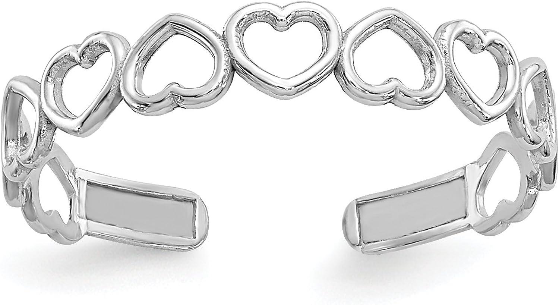 14k White Gold Polished Alternating Open Hearts Toe Ring