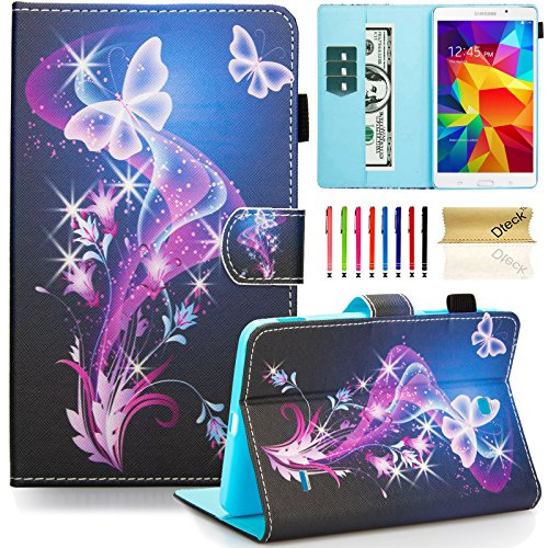 Galaxy Tab 4 7.0 SM-T230 Case, Dteck Slim Lightweigt PU Leather Stand Case with Card Slots Magnetic Closure Protective Cover for Samsung Galaxy Tab 4 7.0' T230 /T231/ T235, Purple Butterfly