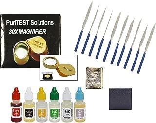 PuriTEST New Gold, Silver & Platinum Testing Kit 6 Fresh Acid Bottle Solutions + 10pcs File Set + 10x Eye Loupe + 5GN Pure Silver Test Bar