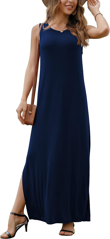 GRECERELLE Women's Casual Fit Long Dress Sleeveless Racerback Split Fashion Maxi Dresses