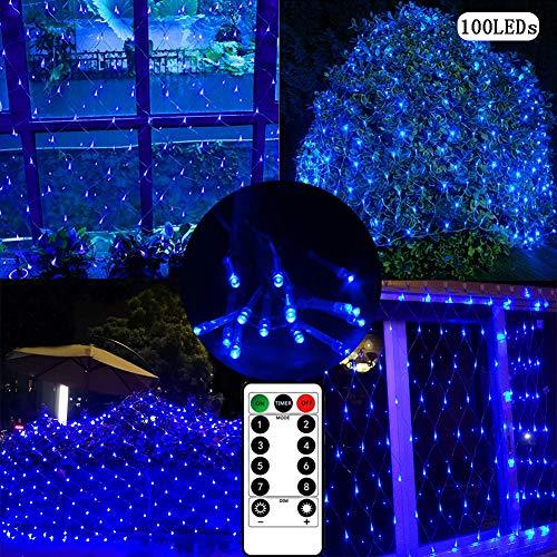 Lichterkette, Netz, für den Innen- und Außenbereich, 1,5 m, 100 LEDs, batteriebetrieben, mit Fernbedienung und Timer, für Vorhang, Weihnachtsbaum, Garten, Hinterhof, Zaun, Balkon, Dekoration blau