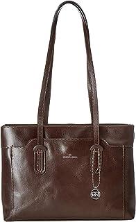 Roberta Rossi Borsa a spalla con manici ampi elegante classica fashion moda Tote bag in Vera Pelle Vacchetta Made in Italy...