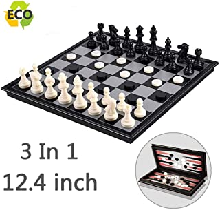 Magnetic Chess Set for Kids and Adults, 12.4 inch Travel Portable Folding Chess Sets Game Board with 3 in 1 Chess Checkers and Backgammon Best Gifts for Children