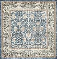 Unique Loom Salzburg Collection Traditional Oriental Light Blue Square Rug (5ft 0 x 5ft 0) 商品カテゴリー: ラグ カーペット [並行輸入品]
