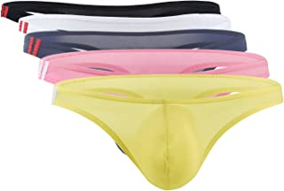 Panegy Men Briefs Underwear Ultra-Thin Thongs Ice Silk Strings Slips Low Waist Panties Lingerie