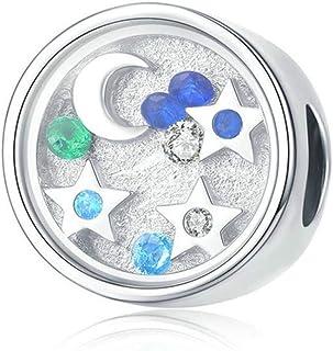 Charm in argento Sterling 925 con ciondolo a forma di cuore, con zirconia cubica, luna, stella, cuore, zircone, cervi, far...