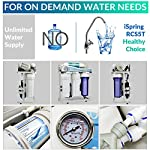 iSpring RCS5T 500 GPD Grade Commercial Tankless Reverse Osmosis RO Water Filter System with 1:1 Drain Ratio, Pressure… 8 5-STAGE FILTERS: 1-3rd stages remove rust, sand, chlorine, disinfection byproducts and odor. 4th stage Dual-Flow RO Membrane removes heavy metals, pesticide residues, etc. 5th Stage removes chlorine, tastes to improve the quality of drinking water. GREAT CAPACITY: Advanced Dual-Flow 500GPD membrane saves 60% of water, with LOW WASTE 1: 1 drain to clean water ratio. Great for light commercial in Restaurants, Salons, Labs, and Offices all benefit in their ways from high-quality RO water. HIGH EFFICIENCY BOOSTER PUMP: No worries for low water pressure. Built in booster pump increases the production of purified water by raising the water pressure and maximizes RO production rate to the optimal level for the reverse osmosis process.