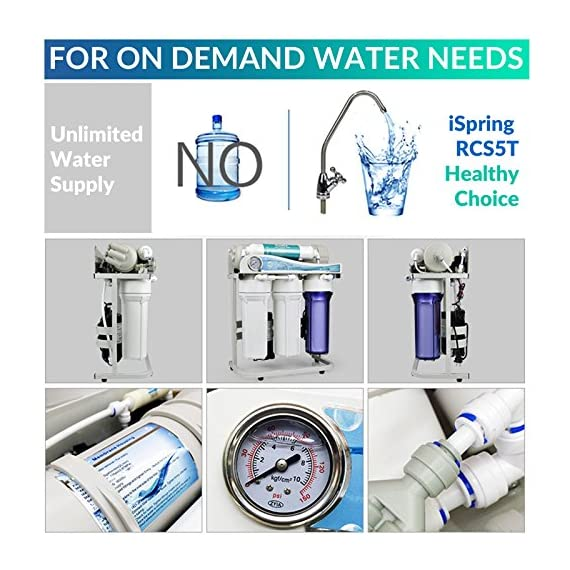 iSpring RCS5T 500 GPD Grade Commercial Tankless Reverse Osmosis RO Water Filter System with 1:1 Drain Ratio, Pressure… 2 5-STAGE FILTERS: 1-3rd stages remove rust, sand, chlorine, disinfection byproducts and odor. 4th stage Dual-Flow RO Membrane removes heavy metals, pesticide residues, etc. 5th Stage removes chlorine, tastes to improve the quality of drinking water. GREAT CAPACITY: Advanced Dual-Flow 500GPD membrane saves 60% of water, with LOW WASTE 1: 1 drain to clean water ratio. Great for light commercial in Restaurants, Salons, Labs, and Offices all benefit in their ways from high-quality RO water. HIGH EFFICIENCY BOOSTER PUMP: No worries for low water pressure. Built in booster pump increases the production of purified water by raising the water pressure and maximizes RO production rate to the optimal level for the reverse osmosis process.