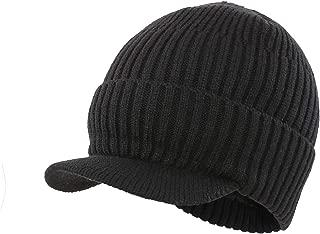 Men's Outdoor Newsboy Hat Winter Warm Thick Knit Beanie Cap with Visor