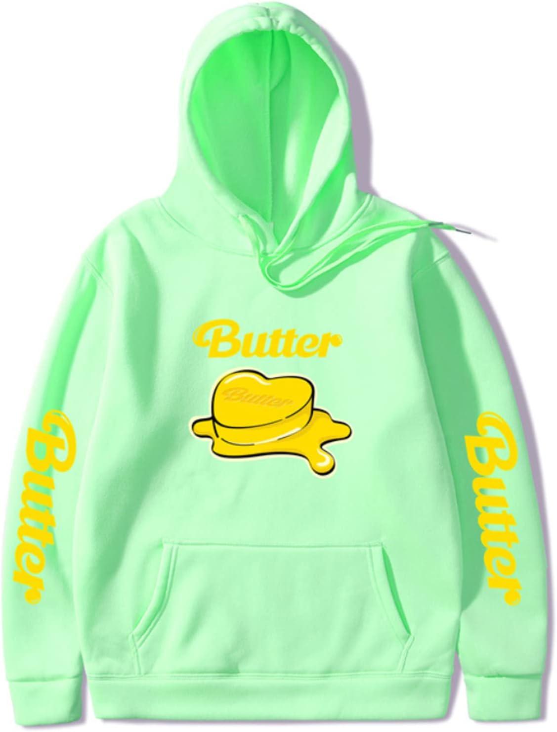 HIPOTUO Unisex Butter Hoodie BTS Jogger Sweatshirt Pullover Sportswear Light Green XX-Large