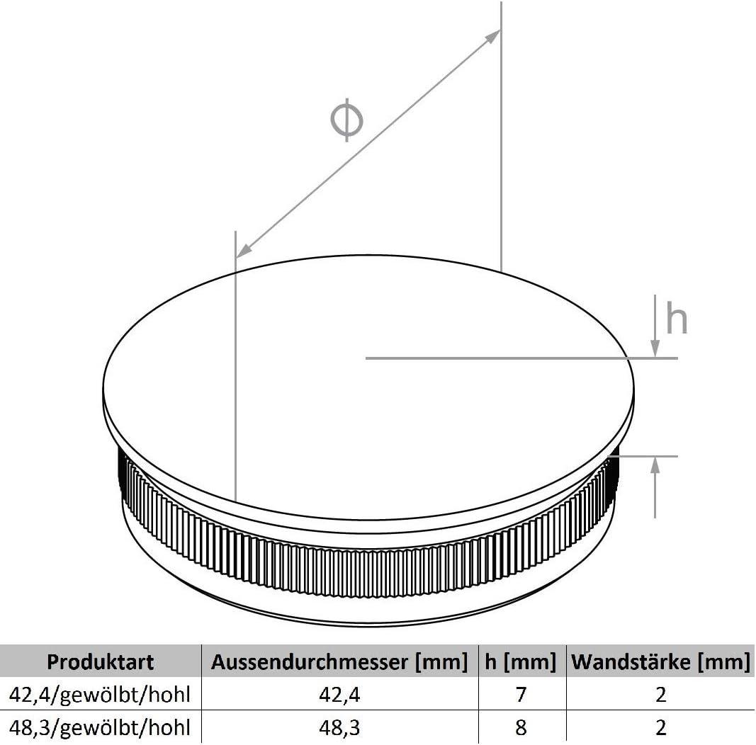 Edelstahlstopfen Gel/änderstopfen gew/ölbt hohl /Ø 42,4mm