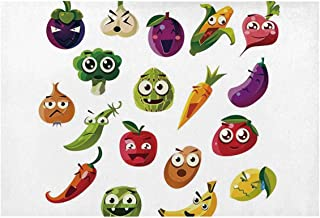 C COABALLA Emoji Utility Placemat,Fruits and Vegetables Carrot Banana Pepper Onion Garlic Food Cartoon Style Symbols for Home,One Piece 12