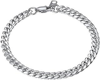 Men Figaro Chain Bracelet for Men 18K Gold Plated Stainless Steel/Black Hand Wrist Link Jewelry for Women, 6mm Width 19CM/...
