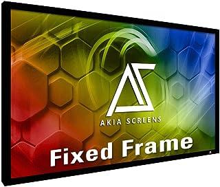 "Akia Screens 135 inch Fixed Frame Projector Screen Wall Mount 16:9 8K 4K Ultra HD 3D Ready CINEWHITE UHD-B Black 135"" Proj..."