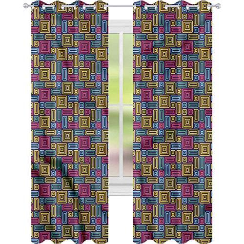 Cortinas para sala de estar con líneas interiores geométricas retro ovaladas W52 x L84 cortina de reducción de ruido