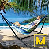 Mototeks Double Hammock with Steel Stand and Carry Bag for Garden Deck Yard Campsite Indoor Outdoor Use Comfort Durability Striped Large Hanging Chair (Blue)