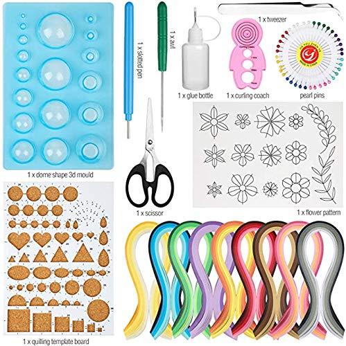 Tokenhigh Papierstreifen und Füller,19 Stück Papier Quilling Werkzeug Set mit 45 Farben 900 Streifen Quilling Kunstdruckpapier DIY Craft Schimmel Board Korkplatte Papier Quilling Kits